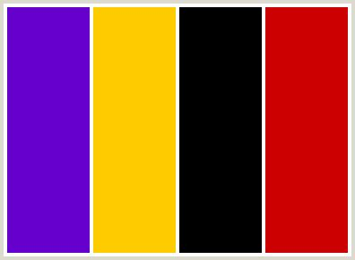 colorcombo8 with hex colors #6600cc #ffcc00 #000000 #cc0000