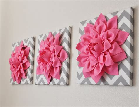 pink wall set of three pink dahlias on gray and by