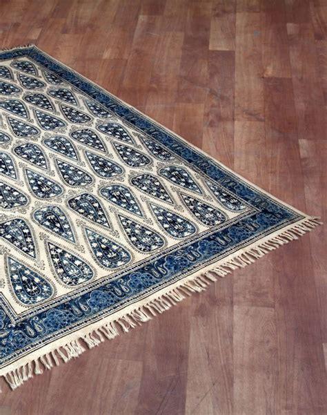 Fabindia Rugs cotton woven printed kalamkari tahira dhurrie rugs and pillows blue cotton and