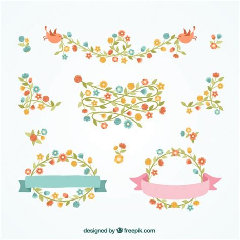 cenefas vectorizadas bordes florales decorativos descargar vectores gratis