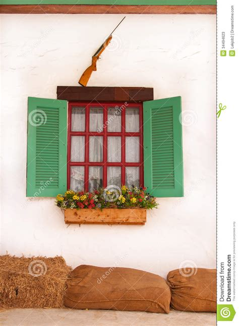 European Style Home Plans gun flower and beautiful window stock image image 34494623
