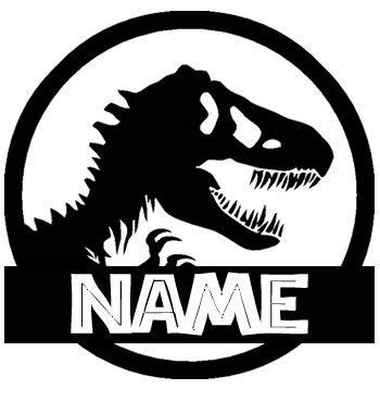 t rex jurassic park  custom with your name black vinyl
