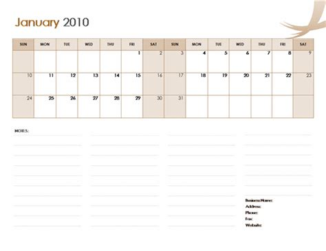 2010 business calendar microsoft word template
