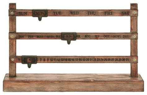 innovative manual notch calendar rustic desk