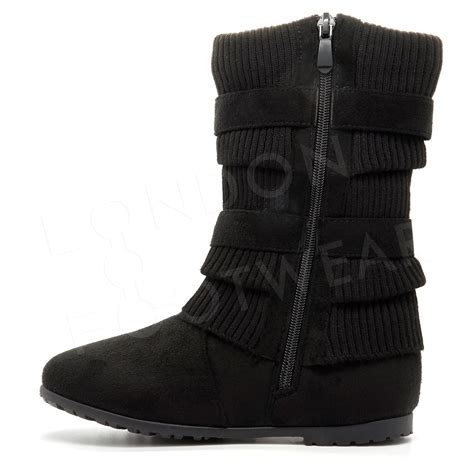 sock boots mid heel new womens flat low heel winter sock biker boots mid calf ankle buckle uk ebay