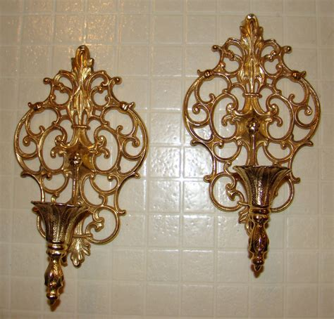 sconces wall decor vintage pair ornate gold tone metal wall sconces candle