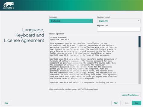 keyboard layout opensuse installation quick start start up opensuse leap 42 3