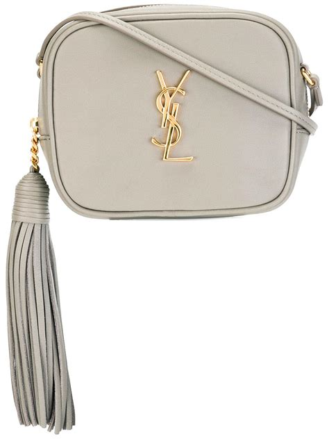 lyst saint laurent monogram blogger crossbody bag  gray