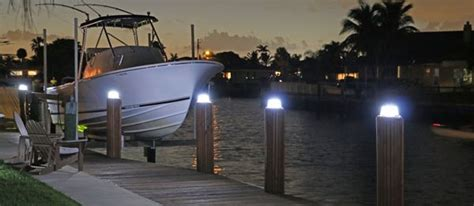 led dock piling lights battery watering systems marine dock products solar dock