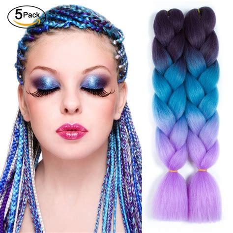 colored kanekalon hair 5 packs ombre braiding hair extensions three