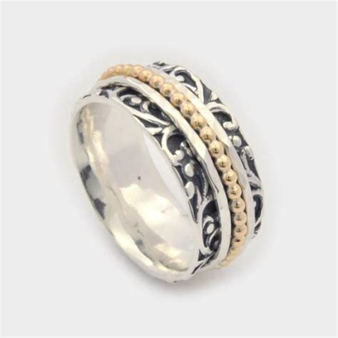 Fidget Spinner Ring Gold floral motif spinner ring leaf motif spinner ring