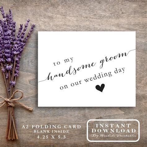 printable quot to my handsome groom on our wedding day quot card - Thank Yous For Wedding Gifts Of Money