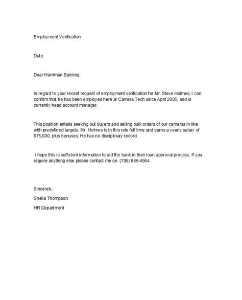 Mortgage Verification Letter employee confirmation letter for bank loan cover letter