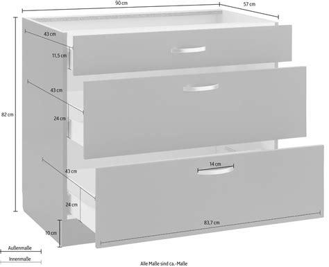 schublade 90 cm k 220 chen unterschrank breite 90 cm 2 ausz 252 ge 1 schublade