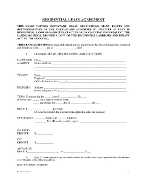 Florida Rental Application Rental Agreement Template Florida Free