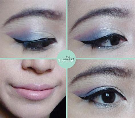 Eyeliner Biru Wardah fotd blue pink makeup tutorial silver treasure