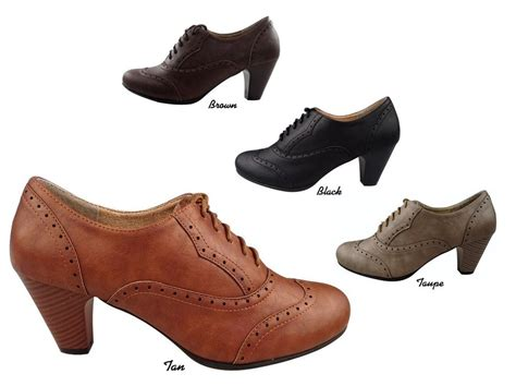 oxford shoes with heel new vintage oxford faux leather retro lace up