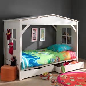 lit cabane en pin massif 90 x 200 cm avec 2 tiroirs de