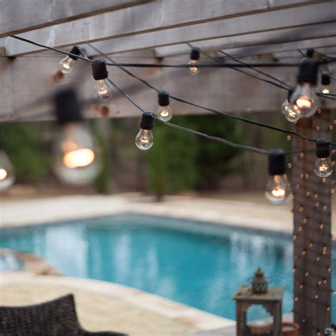 Commercial Patio String Lights Commercial Patio Light String E26 Medium Sockets Black Wire Yard Envy