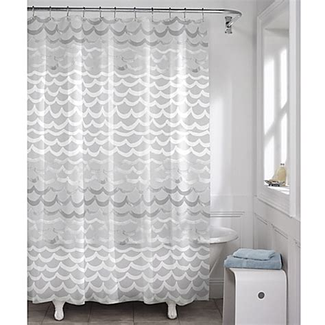 wave shower curtain maytex waves peva shower curtain in white and silver bed
