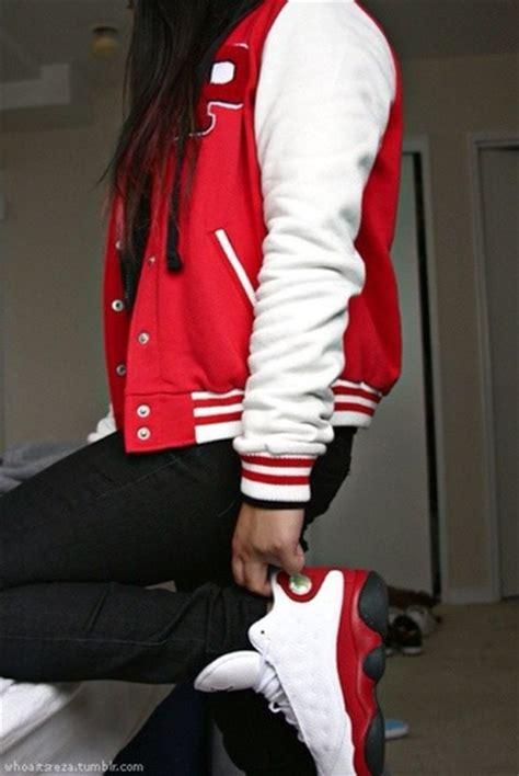 girl with swag and jordans outfit jacket varsity jacket shoes letterman jacket red black
