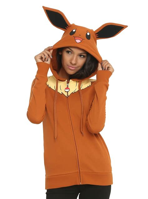 hot topic anime costumes pokemon eevee girls costume hoodie outerwear costumes