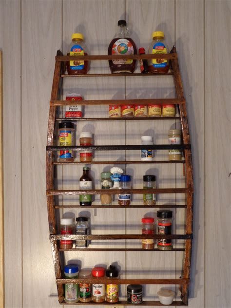 large spice rack shelf whiskey barrel industrial