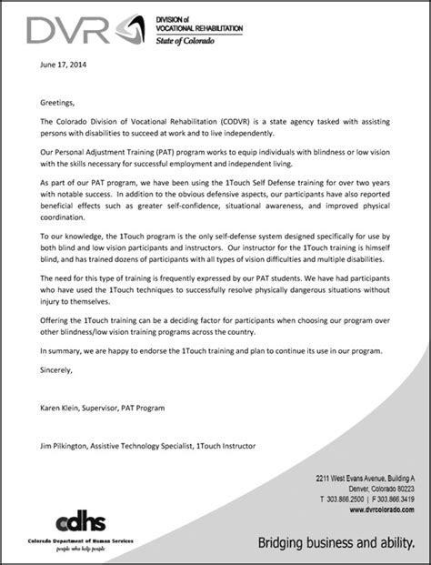 Jumpstart Endorsement Letter History Of The 1touch Project