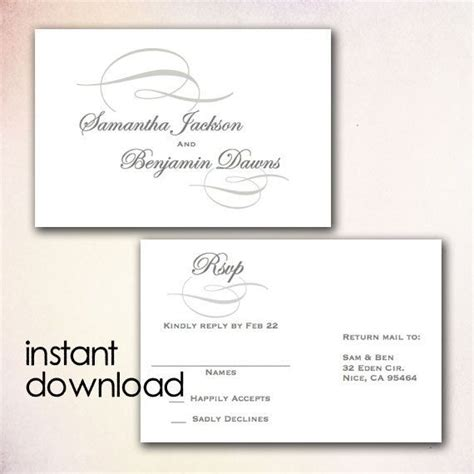 Diy Wedding Rsvp Postcard Template Instant Download Microsoft Word Version Gray Elegant Wedding Rsvp Postcard Template Free