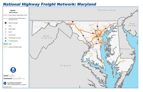 maryland dot map national highway freight network map and tables for