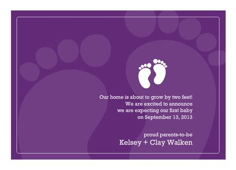 pregnancy announcement cards baby feet purple pregnancy