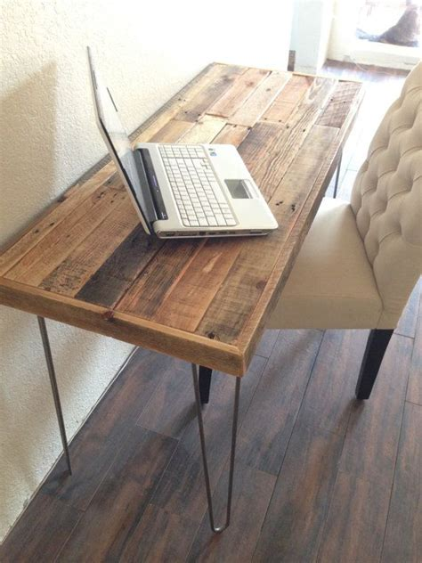 industrial hairpin leg desk reclaimed wood modern steel hairpin leg desk work table