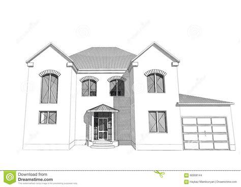 residential ink home design drafting residential house 3d stock illustration image 66908144
