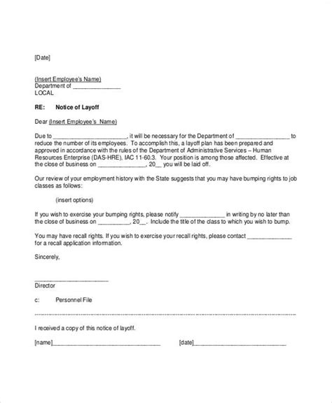 layoff notice templates sample format