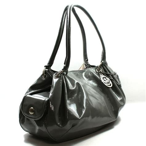 Couture Cherry Print Velour Baby Fluffy Hobo by Couture Grey Patent Leather Fluffy Large