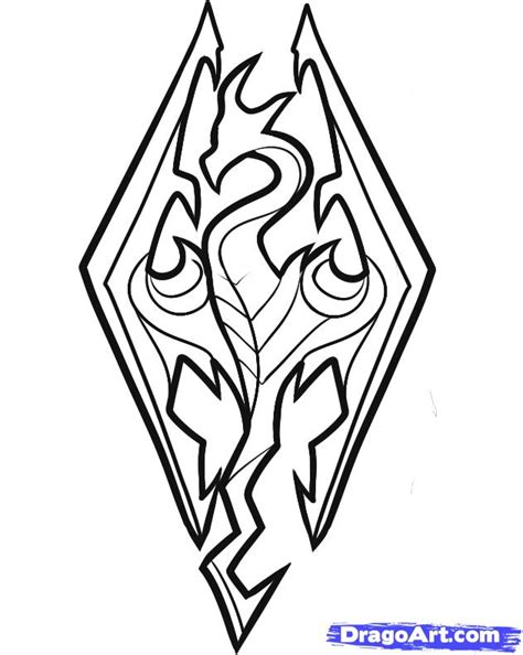 easy tattoo voide how to draw skyrim skyrim logo step 5 art everything