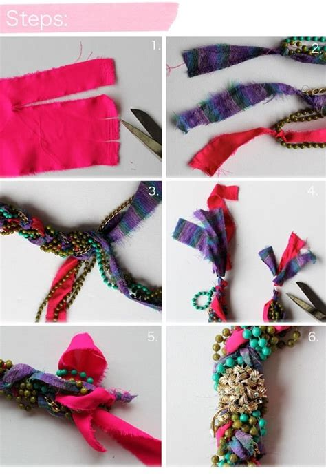 how to make fabric jewelry fabric and bead plaited necklace 183 how to make a fabric