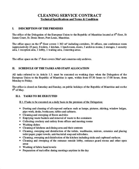 office cleaning contract template sle cleaning contract agreement 7 exles in word pdf