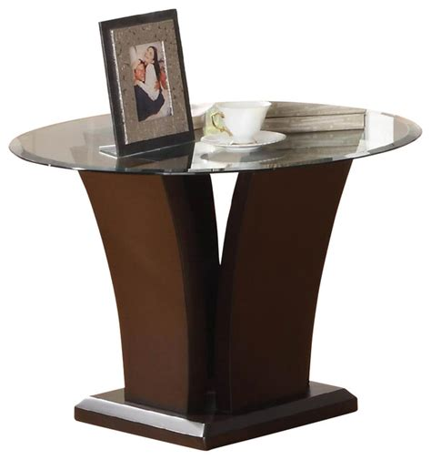 espresso accent tables homelegance daisy round glass top end table in espresso