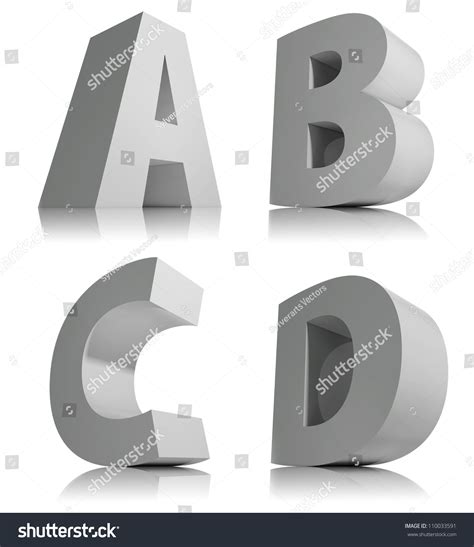 big 3d letters isolated on white stock illustration