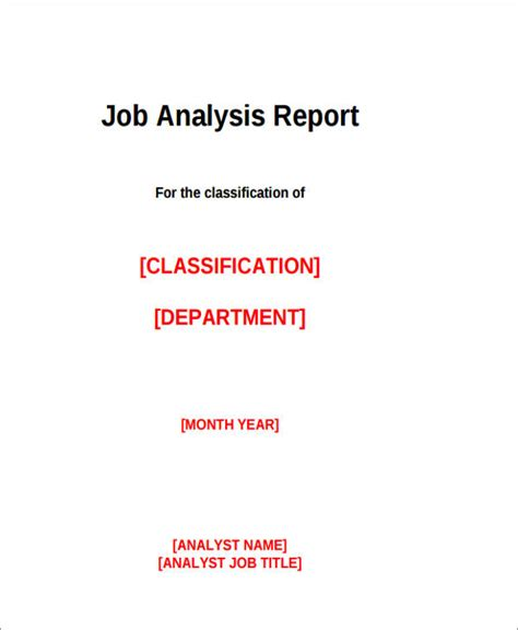 sle job analysis report 9 exles in pdf word