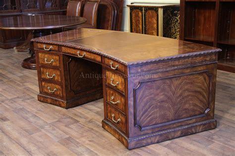Leather Top Mahogany Executive Desk, Fine Antique Reproducti