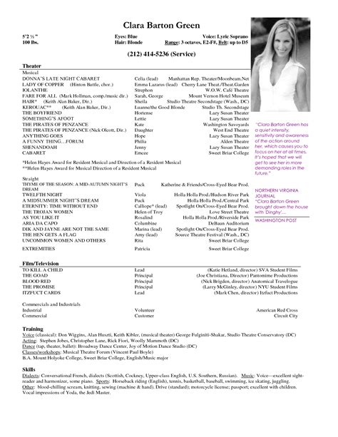 doc 12751650 theater resume exles musical theatre