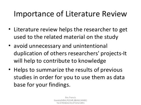 Mba Review Of Literature by Literature Review