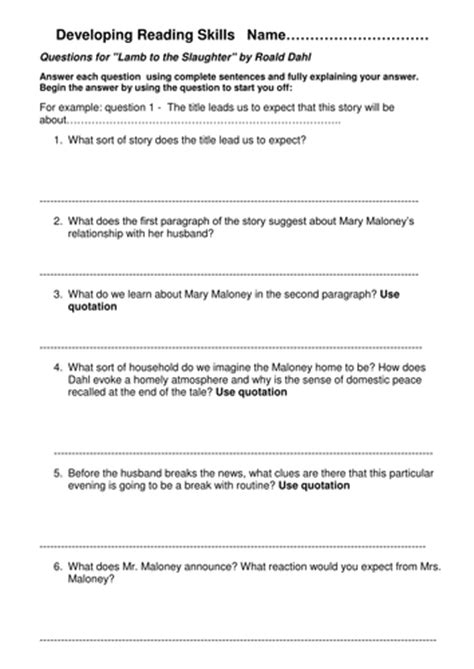 printable version of lamb to the slaughter mixed bag of ks3 worksheets by suepiano162 teaching