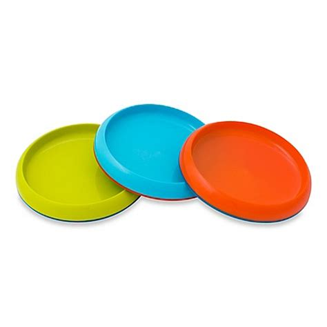 buy boon 174 plate edgeless non skid plates in lime teal orange set of 3 from bed bath beyond