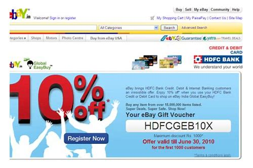 ebay coupons india hdfc credit card
