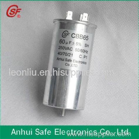 cbb60 capacitor 250v 60uf 250v 60uf air conditioner capacitor cbb65 manufacturer from china anhui safe electronics co