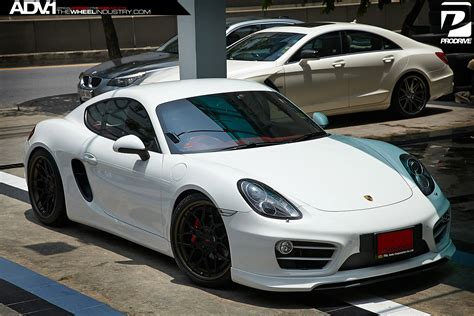 porsche cayman black porsche cayman s adv7 track spec cs series wheels
