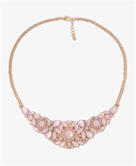 forever 21 rhinestone floral bib necklace in pink pink